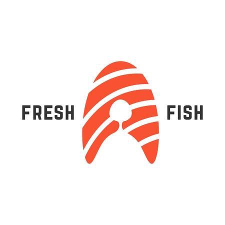 Logo de poisson frais avec un morceau de saumon. concept de nutrition, lettre abstraite a, ingrédient de rouleau, pêche. isolé sur fond blanc. tendance de style plat illustration de vecteur moderne conception de marque Banque d'images - 69141148