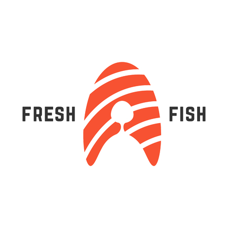 fresh fish logo with piece of salmon. concept of nutrition, abstract letter a, roll ingredient, fishing. isolated on white background. flat style trend modern brand design vector illustration