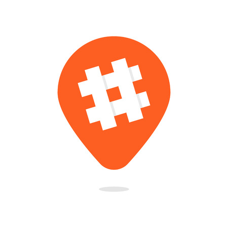 orange pin with hashtag icon