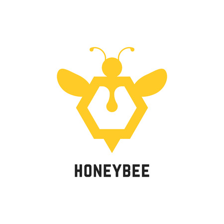 abstract honey bee sign Illustration