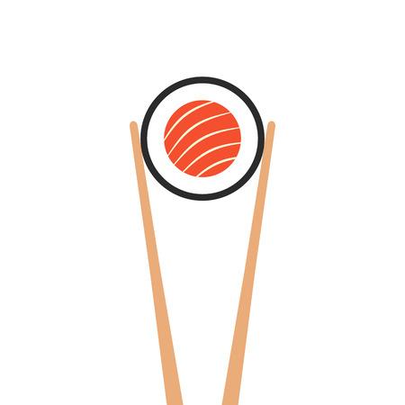 chopsticks holding sushi roll Illustration