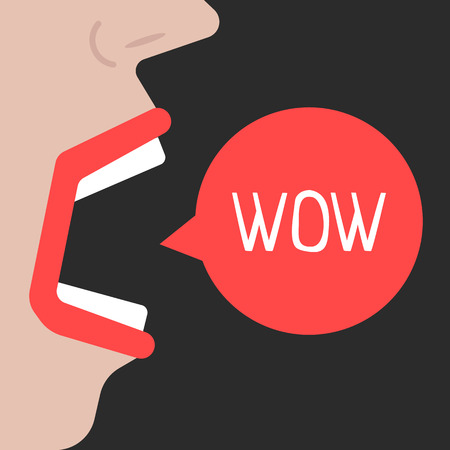 abstract woman speaks wow Stock Photo