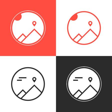 mountaineering: set of four mountaineering logos Illustration