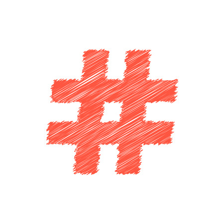red scribble hashtag icon Illustration