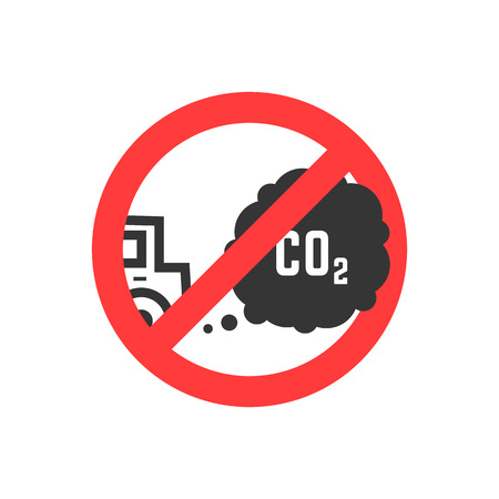 prohibiting: sign prohibiting emissions carbon dioxide Stock Photo