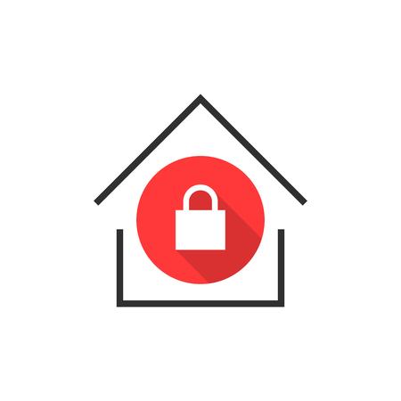 simple locked house icon