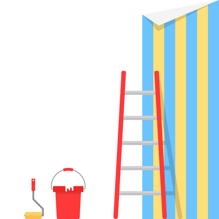 paperhanging: wallpaper pasting with stairs Stock Photo