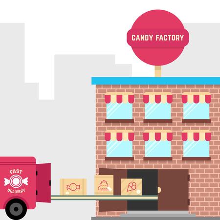 Fábrica de dulces con entrega rápida Foto de archivo - 74188301