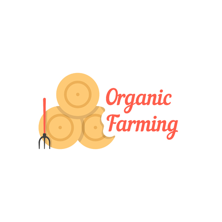 organic farming with stack of hay Illustration