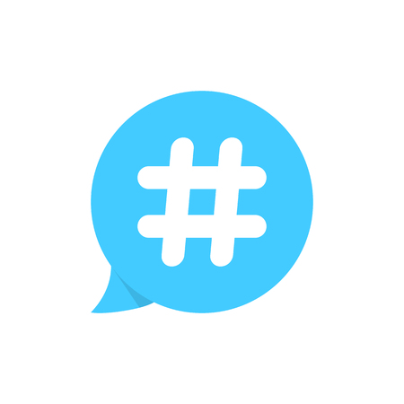 hashtag on blue speech bubble