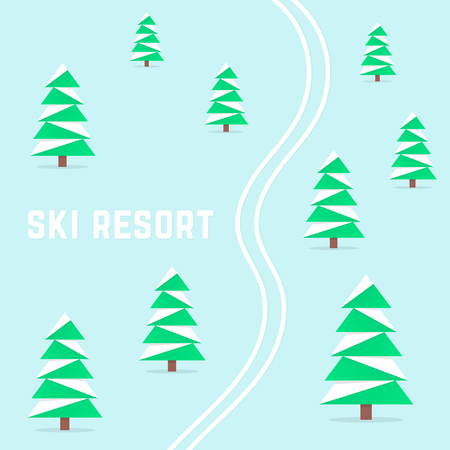 ski resort with downhill skiing Çizim