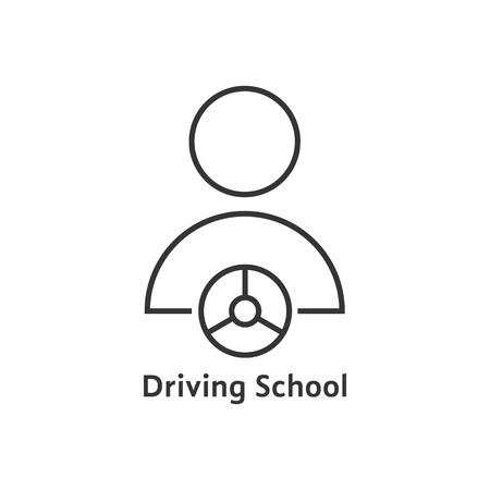 Línea delgada logotipo de la escuela de conducción