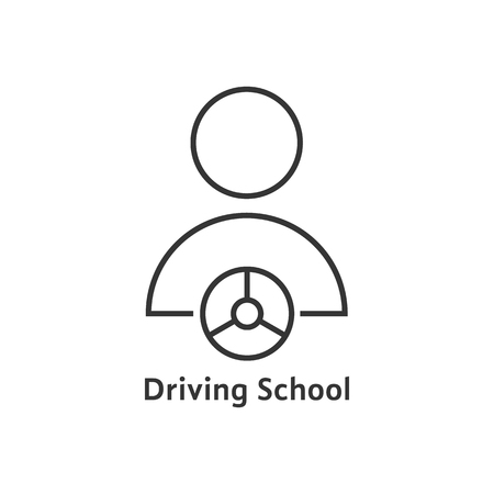 thin line driving school logo