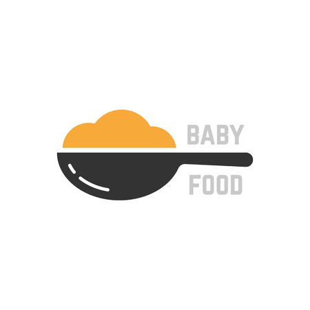 spoon with mashed like baby food logo