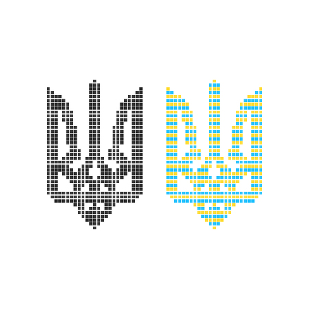 emblem of ukraine: black and colored pixel art ukrainian emblem