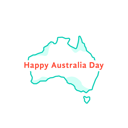 happy australia day with green continent Illustration