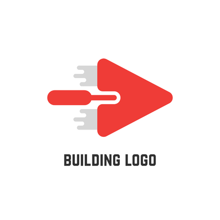 building logo with red trowel