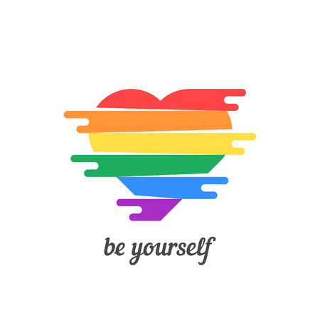 be yourself with colored heart
