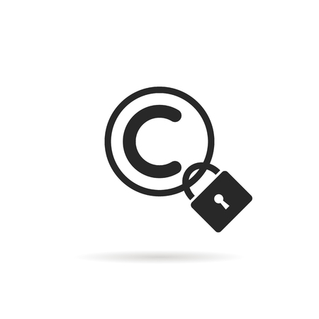 black copyright symbol with padlock and shadow