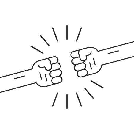 2 つの細い線拳でジェスチャーの戦い