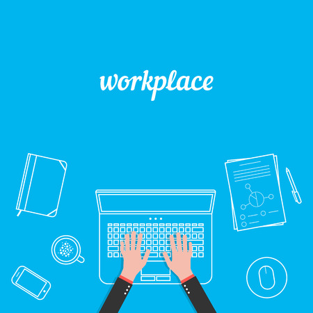 business workplace with white thin line items