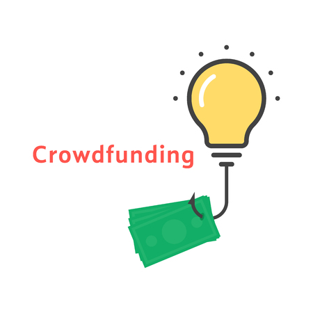 crowdfunding icon with outline bulb Illustration