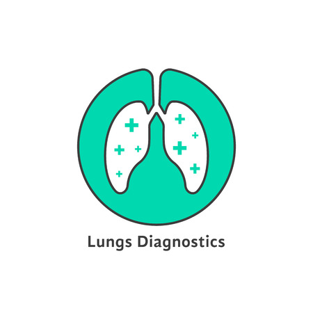 respiration: green outline lungs diagnostics with cross