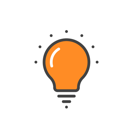 led: orange linear bulb icon