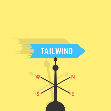 weathervane: tailwind with vane and shadow Illustration