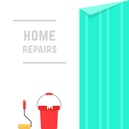 reconstruction: home repairs with hanging wallpaper