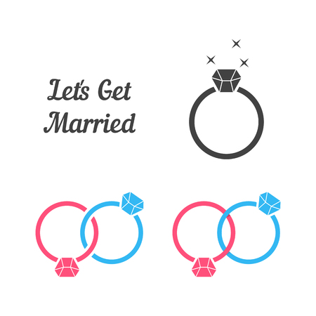 set of rings like get married Vectores