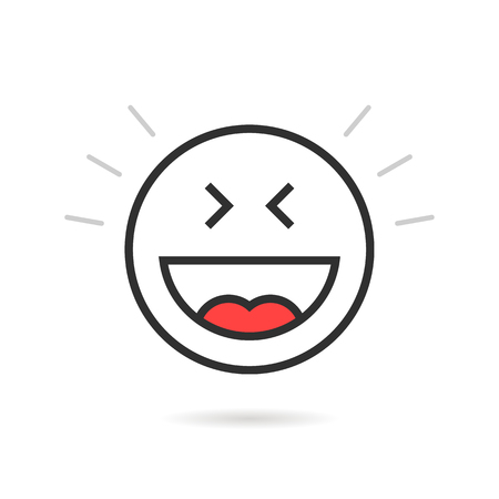 smiley: A joyful thin line emoji icon with shadow illustration.