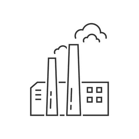 黒細線工場アイコン。簡単なインフォ グラフィック要素、有害排出ガス、塔、蒸留所、煙突の概念。白い背景の上線形スタイル トレンド モダンな