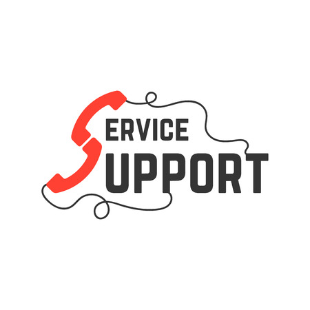 support service with handsets. concept of 24 hour tech consultation, secretary, worldwide info, handle wire, e-commerce.