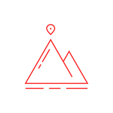 map pin: Thin line mountain with map pin