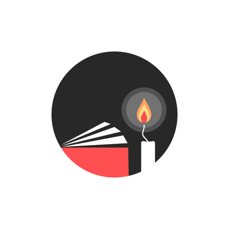 candle and book in black circle. concept of wick, burial, illumination, candlestick, spirituality, illuminate, college. flat style trend modern logotype design vector illustration on white background