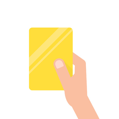 hand holding yellow football card. concept of arbitrator, removal of a football field, mentor, breaking of rules, presentation. flat style trend modern design vector illustration on white background Illustration
