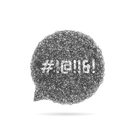 Un boceto burbuja de discurso con palabrotas. concepto de infeliz, irritado, ira, diálogo, cad, voz, vulgaridad, depresión.