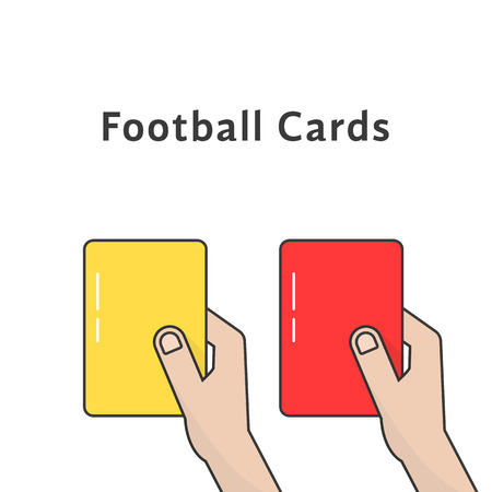 Red and yellow football cards vector illustration. Illustration