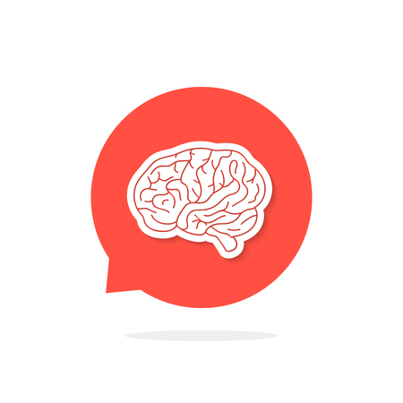 A red speech bubble with brain and shadow. concept of training, innovation, feedback, startup, solution, head, dialog. flat style trend modern logotype design vector illustration on white background