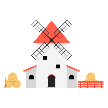A windmill with haystacks. concept of ranch, shack, valley, farmland, hay pitchfork, product, agricultural, fence, rural economy.