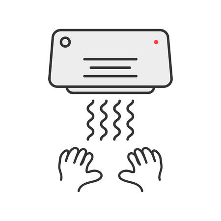 airflow: simple thin line hand dryer emblem. concept of monochrome badge, latrine, closet, interior element, airflow. flat style trend modern logotype graphic design vector illustration on white background