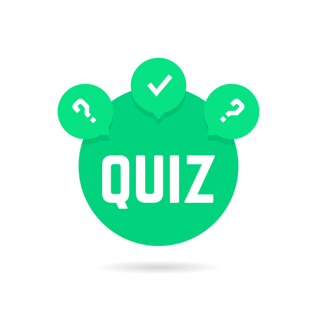 questionably: green quiz icon with speech bubble. concept of web template, checkmark, creative tv show, quizz, competition. flat style trend modern logotype graphic design vector illustration on white background
