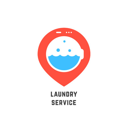mobile app: A map pin like laundry service logo. concept of professional agency, tide, washhouse, client support, laundry facilities.