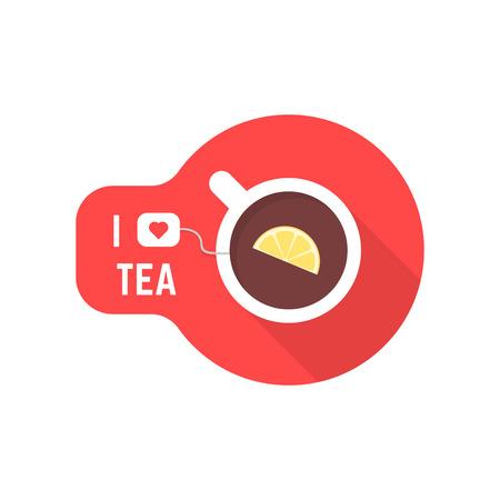 i love tea icon with teacup Illustration