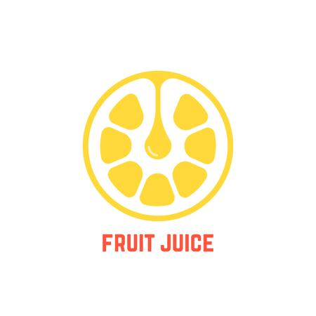 simple yellow fruit juice logo
