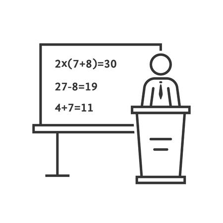 school class: black thin line mathematic teacher. concept of qed, explain, multiplied, wisdom, mentor, college, profession, show. Illustration