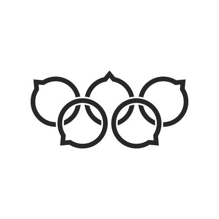 A black speech bubble like rings. concept of five rings, imprint, sportscast emblem, discussion. Ilustração