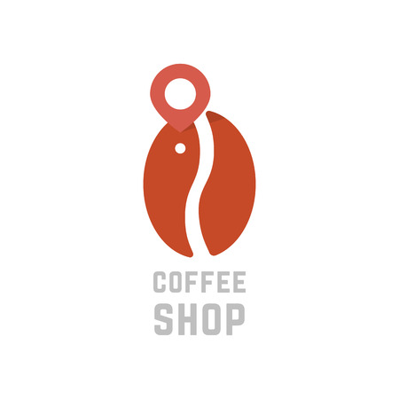 A coffee shop logo like bean with map pin. concept of visual identity, flavor, coffee break, club, grain, cappuccino.