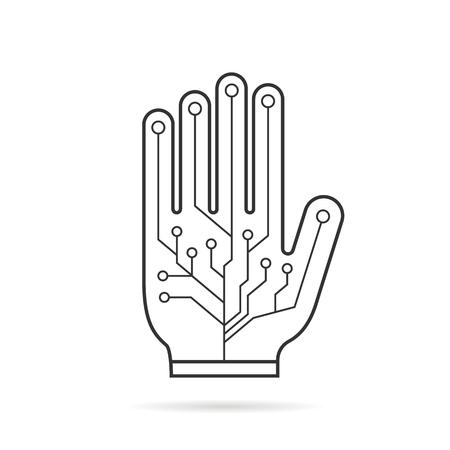 engrossed: black thin line pcb virtual glove